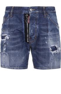 Джинсовые шорты с декоративными потертостями и заплатками Dsquared2