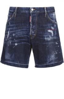 Джинсовые шорты с декоративными потертостями и необработанным краем Dsquared2