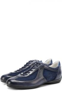 Кожаные кроссовки с замшевыми вставками Santoni