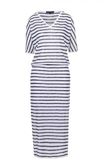 Приталенное платье в полоску с V-образным вырезом на спинке Tegin