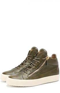 Высокие кожаные кеды на шнуровке Giuseppe Zanotti Design