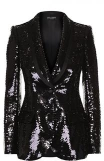 Приталенный жакет с пайетками и шелковой отделкой Dolce & Gabbana