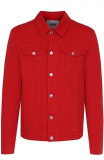 Джинсовая куртка с контрастной нашивкой на спине MSGM