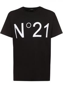 Хлопковая футболка с контрастным принтом No. 21