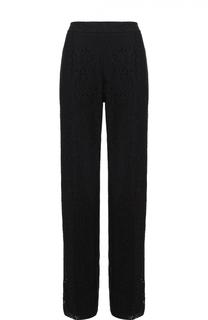 Кружевные брюки прямого кроя с контрастными лампасами No. 21