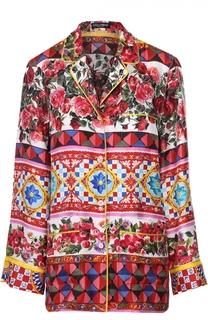 Шелковая блуза в пижамном стиле с ярким принтом Dolce & Gabbana