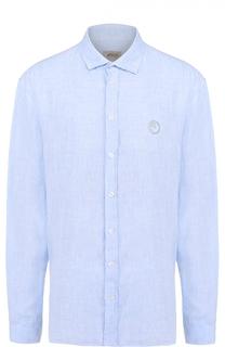 Льняная рубашка с воротником акула Armani Collezioni