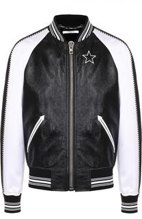 Кожаный бомбер с рукавами из смеси вискозы и шелка Givenchy