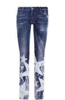 Зауженные джинсы с декоративными потертостями и принтом Dsquared2