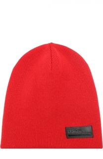 Шерстяная шапка бини с нашивкой Dsquared2