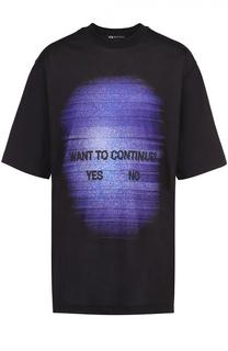 Удлиненная хлопковая футболка с принтом Y-3