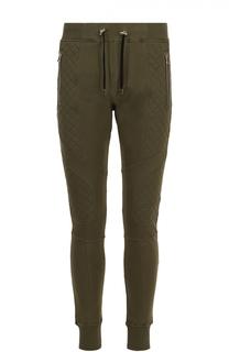 Хлопковые зауженные брюки с декоративной отделкой Balmain