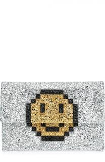 Клатч Pixel Smiley с глиттером Anya Hindmarch
