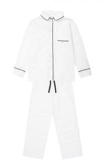 Пижама из хлопка с контрастной отделкой La Perla