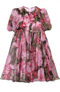 Платье из шелка с цветочным принтом Dolce & Gabbana