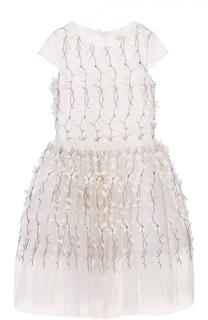 Платье с цветочной вышивкой и бантом David Charles