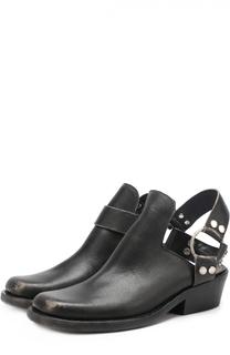 Кожаные ботинки с открытым задником и ремешком Balenciaga