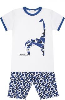 Пижама из хлопка с принтом La Perla