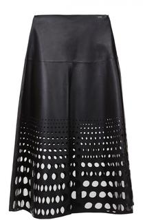 Кожаная юбка-миди с перфорацией Escada Sport