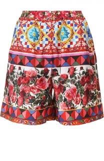Шелковые мини-шорты с эластичным поясом и ярким принтом Dolce & Gabbana
