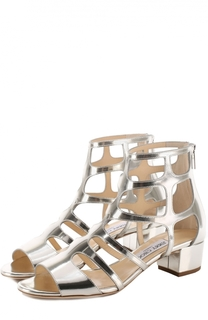 Босоножки Ren 35 из металлизированной кожи на низком каблуке Jimmy Choo