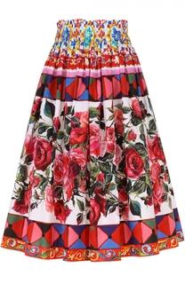 Юбка-миди с ярким принтом и завышенной талией Dolce & Gabbana