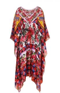Шелковая туника асимметричного кроя с ярким принтом Dolce & Gabbana