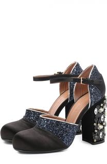Текстильные туфли с глиттером на каблуке с кристаллами Marni