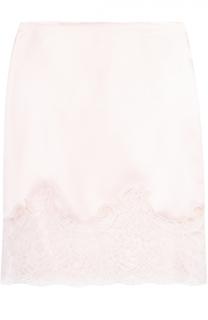 Шелковая облегающая юбка с кружевной отделкой Givenchy