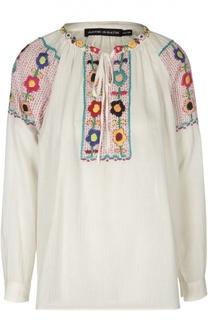 Блуза с контрастной вышивкой и круглым вырезом Antik Batik