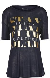 Прямая футболка с удлиненным рукавом и принтом Juicy Couture