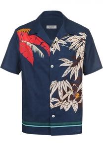 Хлопковая рубашка с цветочным принтом Valentino