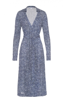Шелковое платье в запахом и контрастным принтом Diane Von Furstenberg