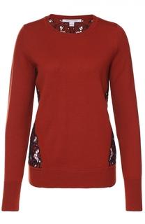 Пуловер прямого кроя с контрастной кружевной спинкой Diane Von Furstenberg