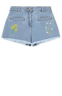 Джинсовые шорты с цветочной вышивкой Stella McCartney