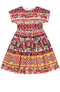 Платье с принтом из хлопка Dolce & Gabbana