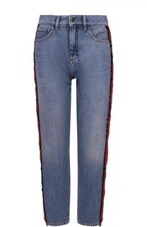 Укороченные джинсы прямого кроя с контрастными лампасами Victoria by Victoria Beckham