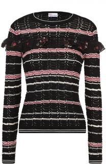 Облегающий пуловер в полоску с оборкой REDVALENTINO