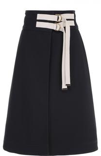 Расклешенная юбка-миди с контрастной отделкой Marni