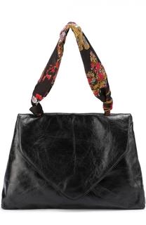 Кожаная сумка с отделкой текстилем Dries Van Noten