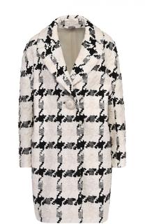 Пальто прямого кроя с принтом гусиная лапка с декорированной пуговицей Alexander McQueen