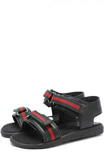 Кожаные сандалии с застежками велькро Gucci