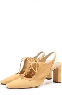 Замшевые туфли на устойчивом каблуке The Row