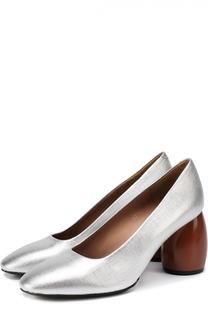 Туфли из металлизированной кожи на геометричном каблуке Dries Van Noten