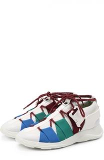 Комбинированные кроссовки с эластичными ремешками на шнуровке Christopher Kane
