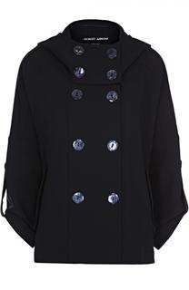 Двубортное укороченное пальто с капюшоном Giorgio Armani