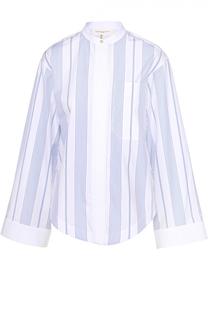 Блуза с воротником-стойкой в контрастную полоску Aquilano Rimondi