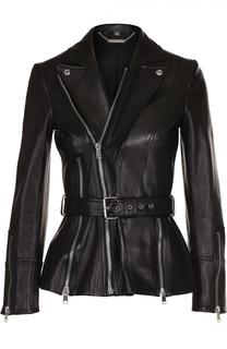 Приталенная кожаная куртка с поясом Alexander McQueen