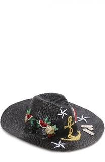 Соломенная шляпа с декоративной отделкой Dolce & Gabbana