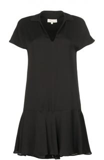 Мини-платье с глубоким V-образным вырезом и асимметричной юбкой Paul&Joe Paul&Joe